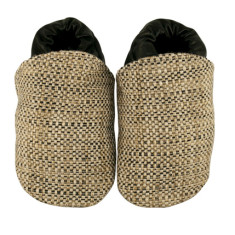 Beige tweed fabric baby shoes
