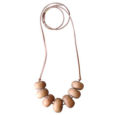 Natural wood hazel bead necklace