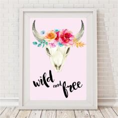 Boho Tribal Wild & Free Skull Print