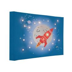 Space rocket illuminated canvas