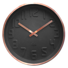 Charcoal wall clock with curved dial and copper finsh case