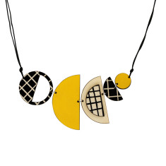 Semi- circle cross necklace in yellow