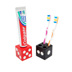 Rolling die toothbrush & paste bathroom set
