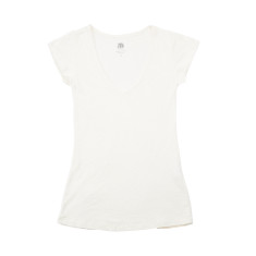 Women's basic cotton slub t-shirt in off white