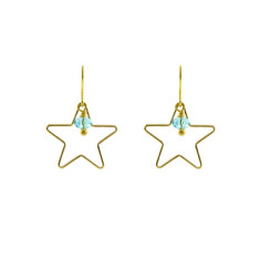 Golden line star earrings