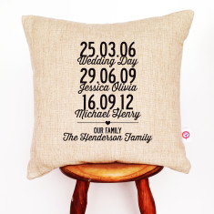 Our family personalised cushion cover