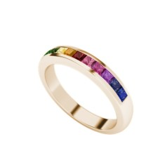 Rainbow ring in 9 carat rose gold
