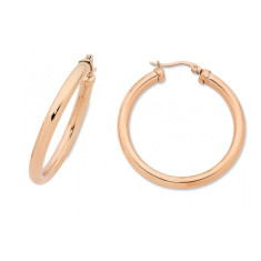 Rose gold tube hoop earrings