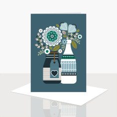 Roses in bottles greeting card (pack of 8)