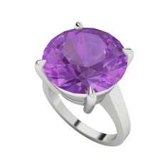 Round brilliant cut amethyst sterling silver ring