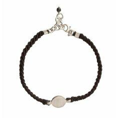 Silver pendant on black waxed cotton bracelet