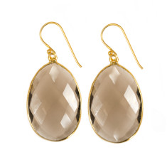 Large smokey earrings with gold plating