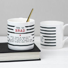 Brad Pitt Poem Bone China Mug