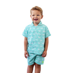 Gone fishing green boys pj set