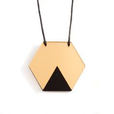 Geo hexagon necklace in gold mirror & black