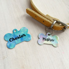Watercolour Dog ID Name Tag Bone Personalised
