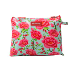 Large cosmetic, clutch or nappy bag in Alexandra Sage print