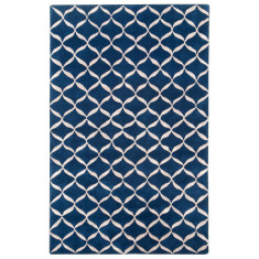 Midnight blue designer hand-tufted wool & art silk rug