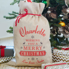 Personalised Wishing You Vintage Christmas Sack
