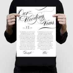 Personalised wedding vow art print elegant swirls