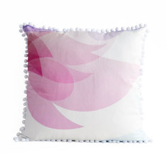 Pastel Pink Floral Pom Pom Throw Pillow