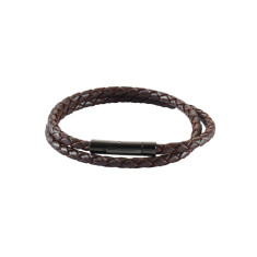 Men's woven leather double wrap bracelet in cognac