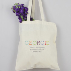 Personalised hashtag tote bag