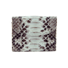 Natural python and napa leather flap card case