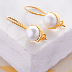 Cupcake Smaller Drop Earrings In Gold Plate With Pearl