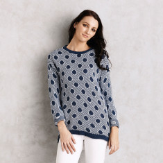 Genevieve Sweater in Spotted Navy
