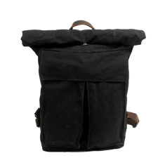 Black canvas waterproof travel backpack weekend bag