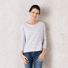 Monaco Top in Grey Stripes