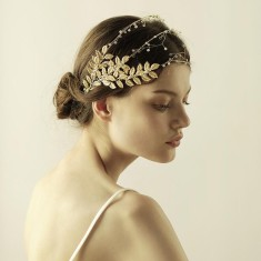 Gold Three-Row Wedding Hair Piece