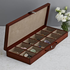 Personalised leather cufflinks box with 12 sections