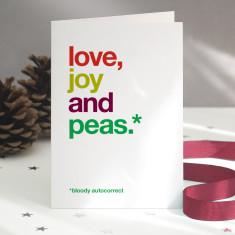 Funny Peas autocorrect Christmas card