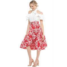 Doris fit and flare jacquard frill cocktail skirt in red white floral