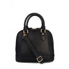 Black python leather handbag
