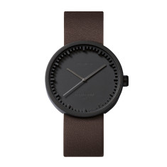 Leff Amsterdam tube watch D38 with brown leather strap black finish