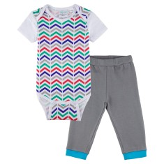 Zig -zag short sleeve onesie with grey pants