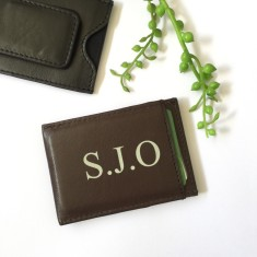 Personalised leather money clip with initials