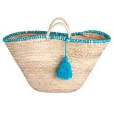Medium tassel basket in turquoise