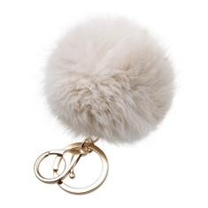 Fur key ring in grey cream