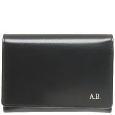 Monogrammed Leather Ladies Wallet - Black w/ Gold Emboss