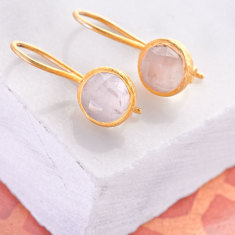 Cupcake Smaller Drop Earrings In Gold Plate With Rose Quartz