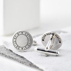 Personalised Round Silver Coordinate Cufflinks