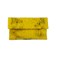 Canary splash python leather classic foldover clutch bag