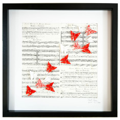 Music freedom in red framed art work