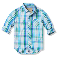 Boys Blue & Green Multi-checked Shirt