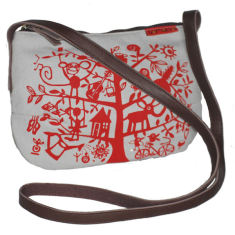 Tamelia cotton canvas Red Tree smile bag