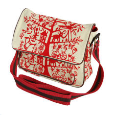 Tamelia cotton canvas Red Tree satchel